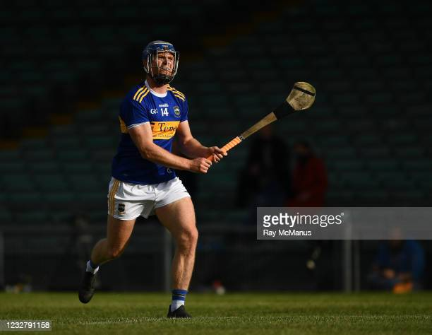Limerick , Ireland - 8 May 2021; Jason Forde of Tipperary watches the flight of the sliothar after striking a free during the Allianz Hurling League...