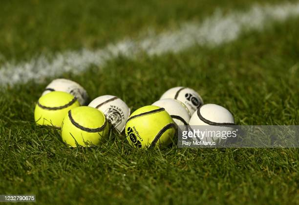 Limerick , Ireland - 8 May 2021; Sliotars on the grass before the Allianz Hurling League Division 1 Group A Round 1 match between Limerick and...