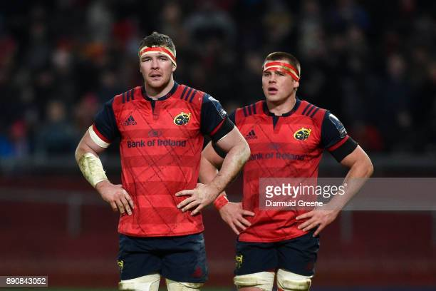 Limerick Ireland 9 December 2017 Peter O'Mahony and CJ Stander of Munster during the European Rugby Champions Cup Pool 4 Round 3 match between...