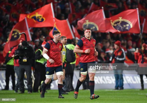 Limerick Ireland 9 December 2017 Peter O'Mahony left and CJ Stander of Munster make their way out for the European Rugby Champions Cup Pool 4 Round 3...