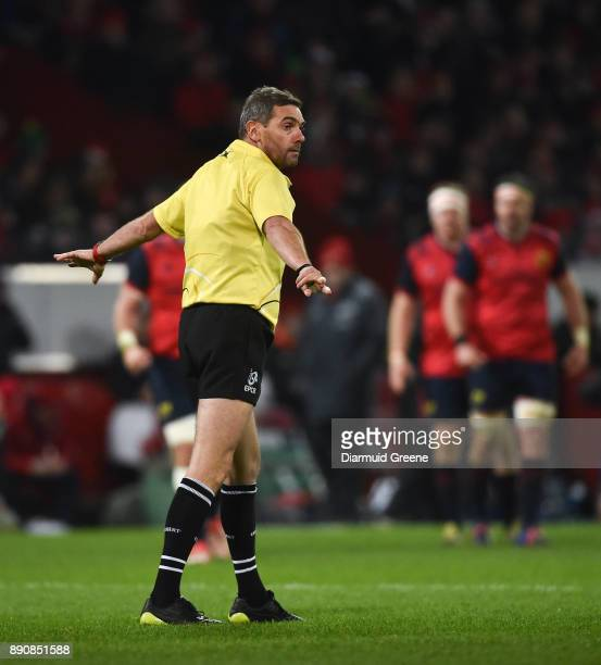 Limerick Ireland 9 December 2017 Referee Jérôme Garcès during the European Rugby Champions Cup Pool 4 Round 3 match between Munster and Leicester...