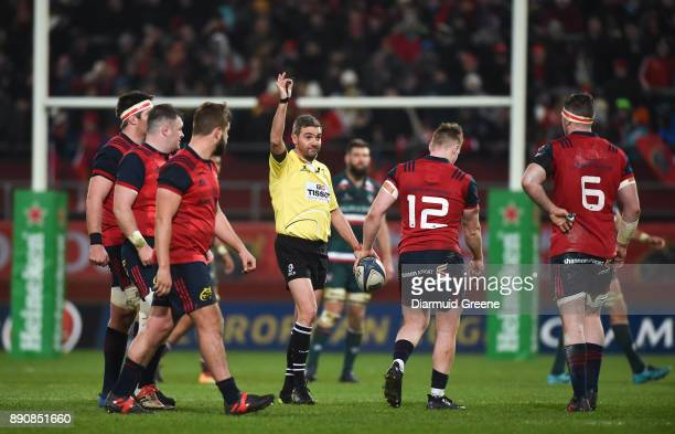 Limerick Ireland 9 December 2017 Referee Jérôme Garcès speaks to Munster players during the European Rugby Champions Cup Pool 4 Round 3 match between...