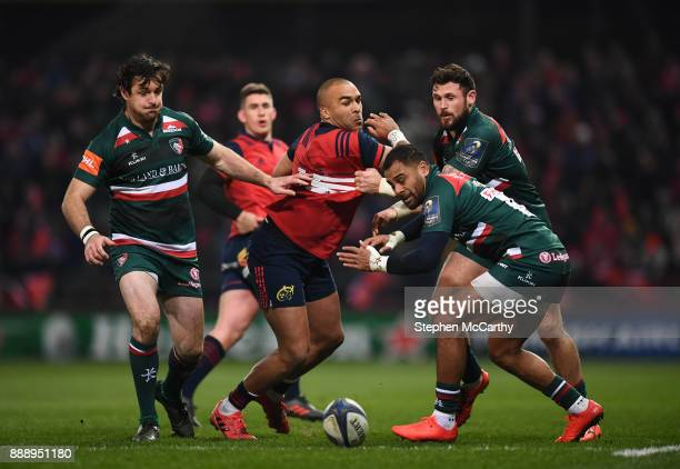 Limerick Ireland 9 December 2017 Simon Zebo of Munster in action against Leicester Tigers players from left Matt Smith Telusa Veainu and Adam...