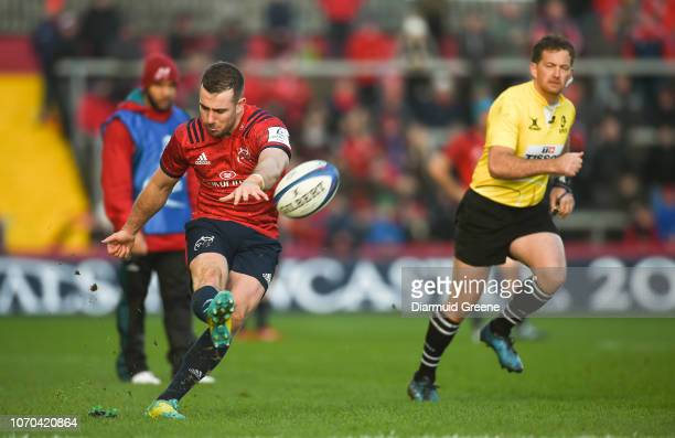 Limerick Ireland 9 December 2018 JJ Hanrahan of Munster kicks a conversion during the European Rugby Champions Cup Pool 2 Round 3 match between...
