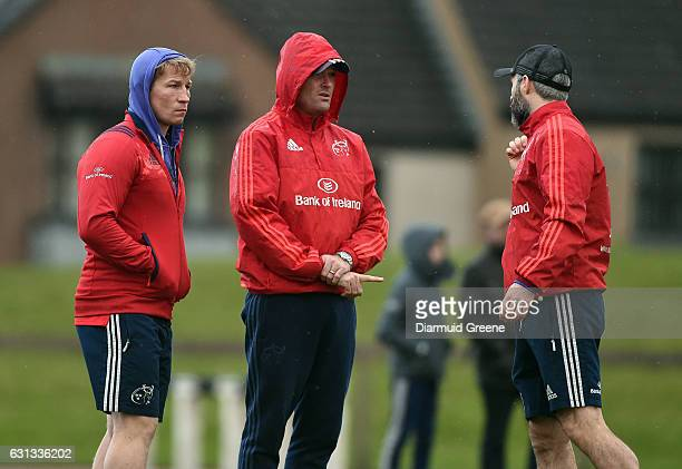 Limerick Ireland 9 January 2017 Munster scrum coach Jerry Flannery right defence coach Jacques Nienaber centre and head of fitness Aled Walters in...