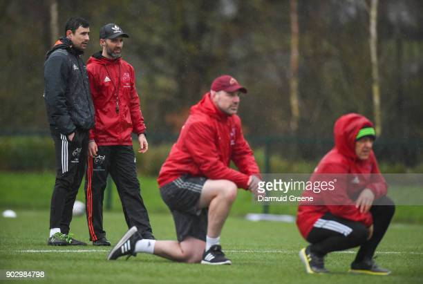 Limerick Ireland 9 January 2018 Backline and attack coach Felix Jones and head of athletic performance Aled Walters in conversation during Munster...