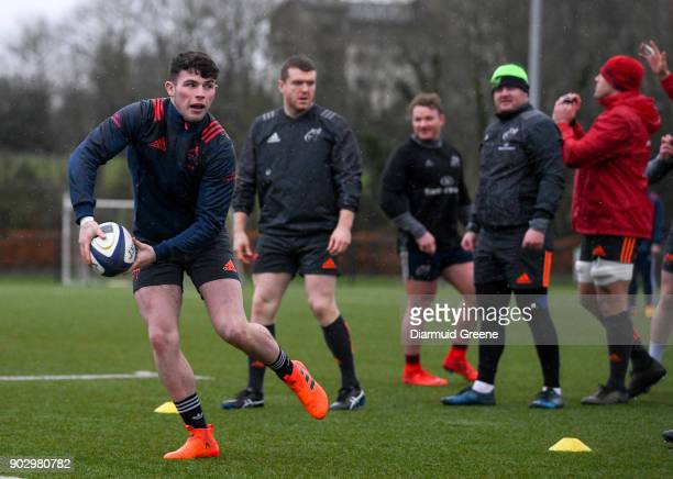 Limerick Ireland 9 January 2018 Calvin Nash during Munster Rugby squad training at the University of Limerick in Limerick