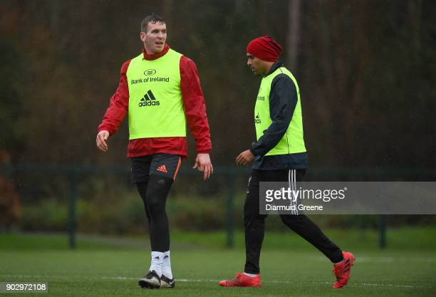 Limerick Ireland 9 January 2018 Chris Farrell and Simon Zebo during Munster Rugby squad training at the University of Limerick in Limerick