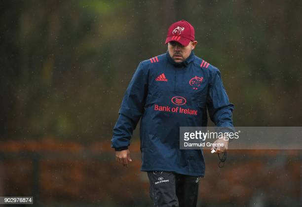 Limerick Ireland 9 January 2018 Defence coach JP Ferreira during Munster Rugby squad training at the University of Limerick in Limerick
