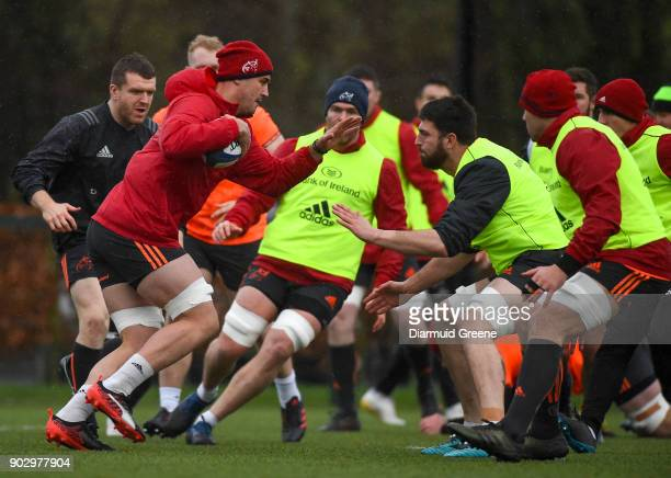 Limerick Ireland 9 January 2018 Gerbrandt Grobler in action against Jean Kleyn during Munster Rugby squad training at the University of Limerick in...