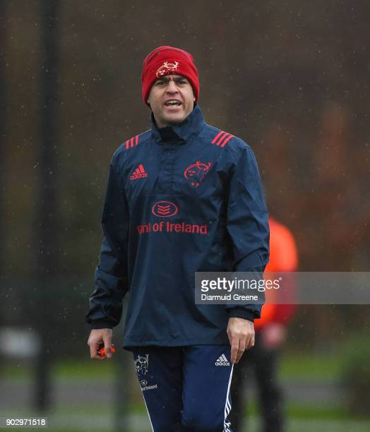 Limerick Ireland 9 January 2018 Head coach Johann van Graan during Munster Rugby squad training at the University of Limerick in Limerick