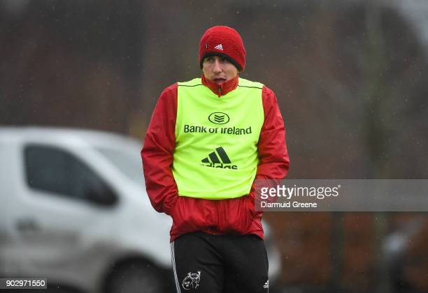 Limerick Ireland 9 January 2018 Ian Keatley looks on during Munster Rugby squad training at the University of Limerick in Limerick
