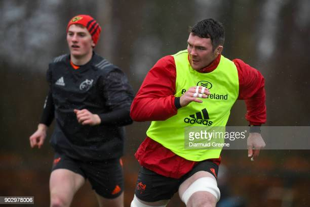 Limerick Ireland 9 January 2018 Peter O'Mahony and Conor Fitzgerald during Munster Rugby squad training at the University of Limerick in Limerick
