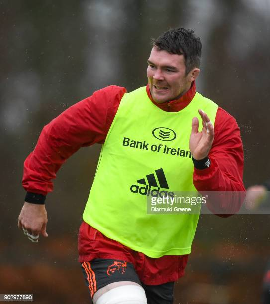 Limerick Ireland 9 January 2018 Peter O'Mahony during Munster Rugby squad training at the University of Limerick in Limerick