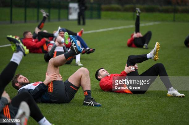 Limerick Ireland 9 January 2018 Rhys Marshall and Conor Murray during Munster Rugby squad training at the University of Limerick in Limerick