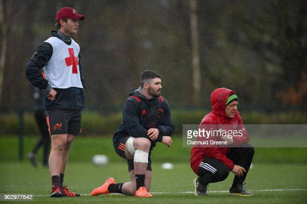 Limerick Ireland 9 January 2018 Tyler Bleyendaal Sam Arnold and elite player development Coach Greig Oliver during Munster Rugby squad training at...