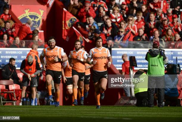 Limerick Ireland 9 September 2017 Francois Venter of Cheetahs leads his team out for the Guinness PRO14 Round 2 match between Munster and Cheetahs at...