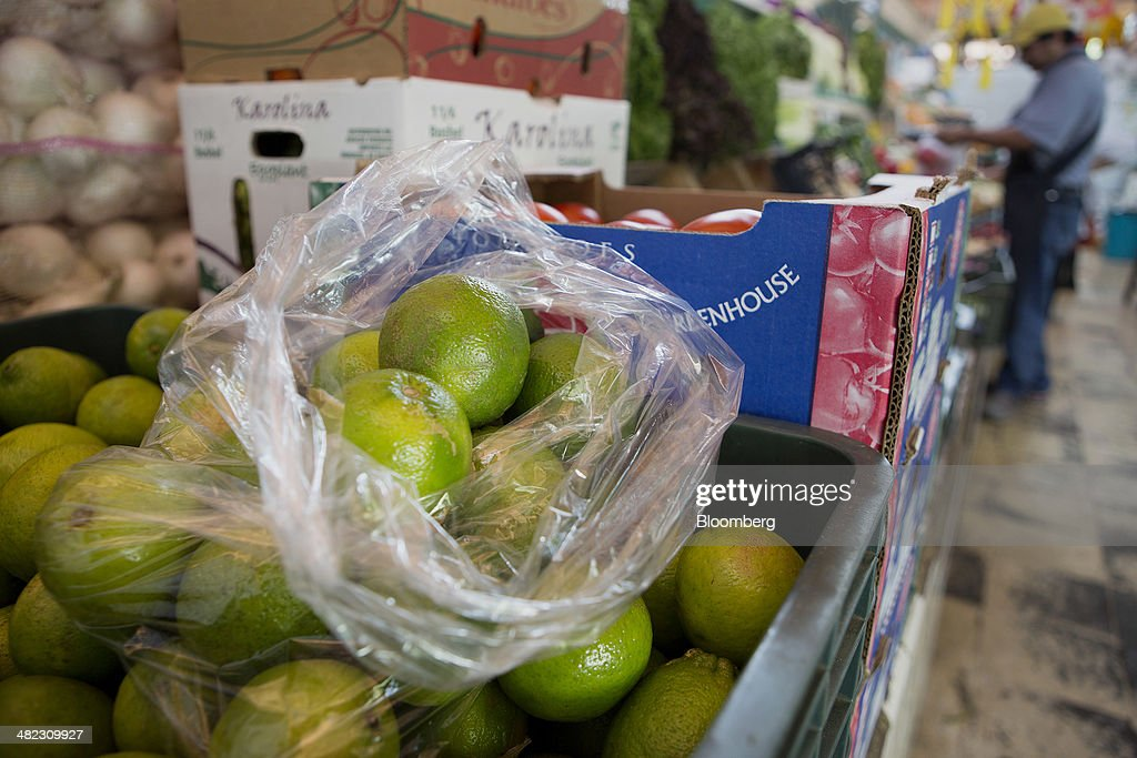 Limes are displayed for sale at the Michoacan market in the