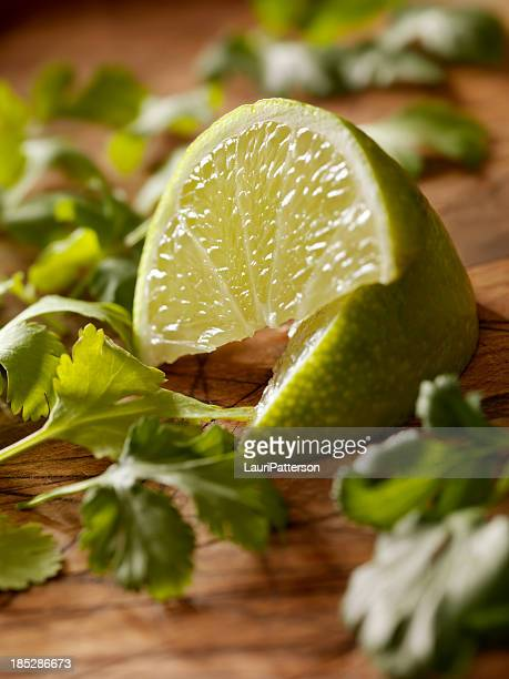 Limes with Fresh Cilantro