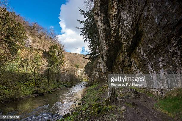 limestone cliff in cheedale, peak district - rock overhang stock photos and pictures