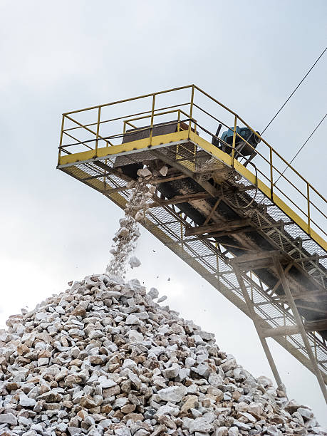Limestone crushing process.