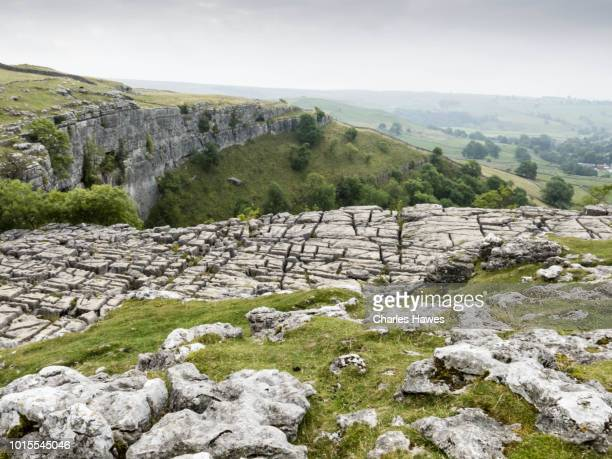 limestone pavement at the top of malham cove; image taken from the dales high way trail between skipton and dent in september; the area is withing the yorkshire dales national park in the uk. - limestone pavement stock pictures, royalty-free photos & images