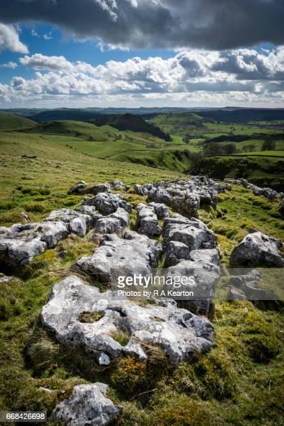 limestone pavement near buxton, derbyshire, england - limestone pavement stock pictures, royalty-free photos & images