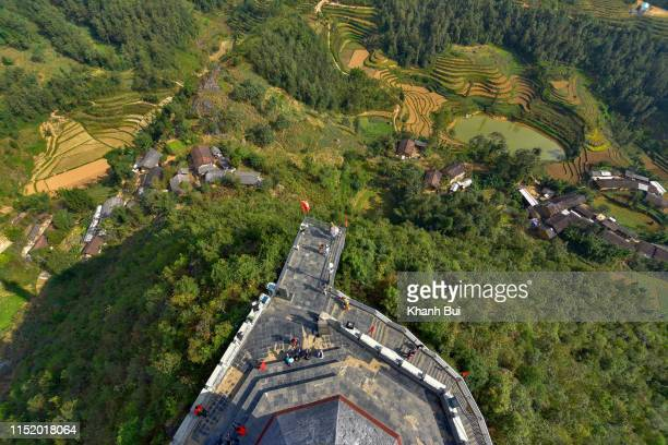 limestone plateau and terraces, a heritage's in ha giang province, vietnam. photo was taken aerial view at lung cu flag pole. - limestone pavement stock pictures, royalty-free photos & images