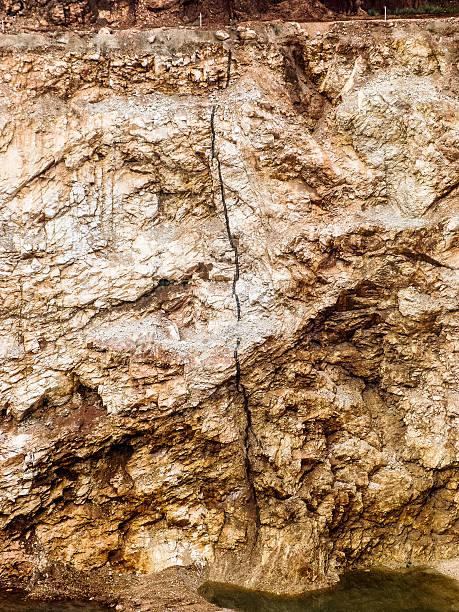 Limestone quarry wall.