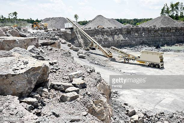 Limestone quarry with modern crushing and screening equipment.