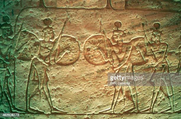 Limestone relief showing Hittite soldiers Temple of Abu Simbel Egypt 14th13th century BC The Hittites were a people whose empire covered much of...