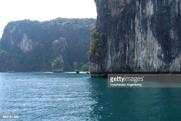 Limestone rock shores of Koh Hong island, Thailand