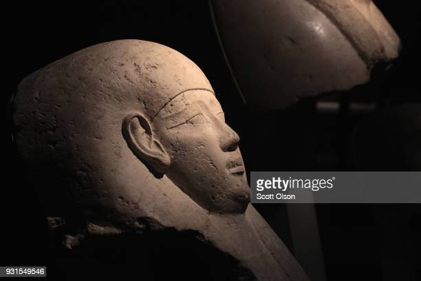 A limestone sarcophagus fragment from Egypt is displayed at the Field Museum on March 13 2018 in Chicago Illinois The artifact is part of the new...