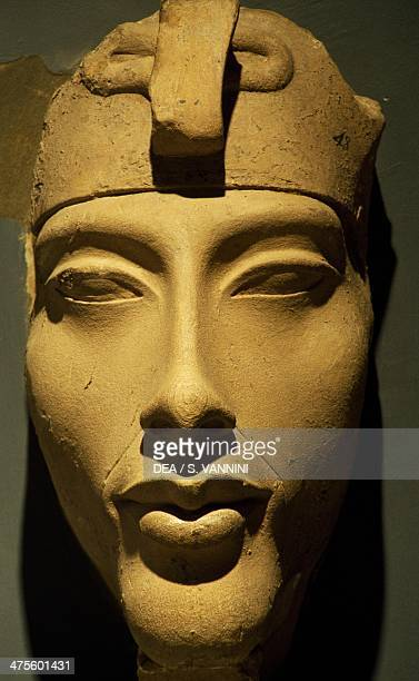 Limestone statue depicting Amenhotep IV from Karnak Egypt Egyptian civilisation New Kingdom Dynasty XVIII Luxor Ancient Egypt Museum