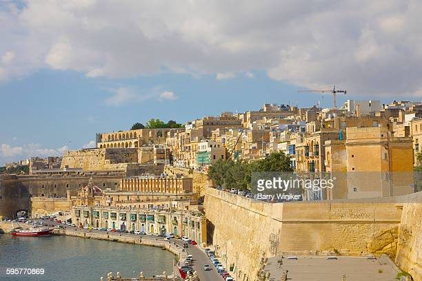 Limestone walls on hillside of Valletta, Malta.
