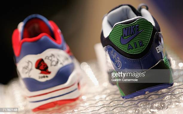 Limited edition Air Max series trainers designed and signed by rapper Eminem go on display at NikeTown London's Festival of Air at Nike Town on...
