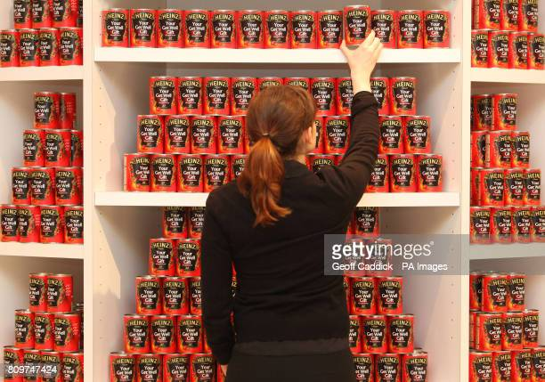 Limited Edition Heinz Get Well Soup cans pictured at Selfridges in London featuring a new Your Get Well Gift message within the iconic keystone design