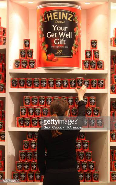 Limited Edition Heinz OcircGet Well' Soup cans pictured at Selfridges in London featuring a new OcircYour Get Well Gift' message within the iconic...