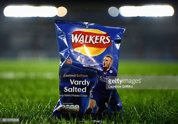 Limited edition packets of Walkers crisps bearing the likeness of Jamie Vardy of Leicester City are seen prior to the Barclays Premier League match...