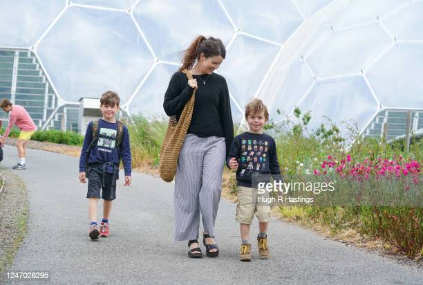 A limited number of visitors return to The Eden Project for the first time in 75 days on June 6 2020 in St Austel England The 30acre gardens have...