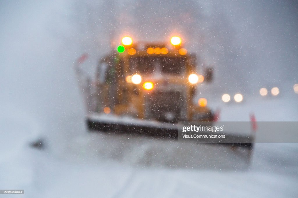 Limited visibility during snow storm. : Stock Photo