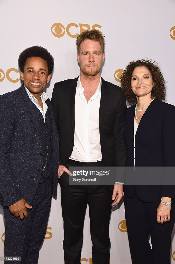 'Limitless' cast members Jake McDorman, Mary Elizabeth Mastrantnio and Hill Harper attend the 2015 CBS Upfront at The Tent at Lincoln Center on May 13, 2015 in New York City.