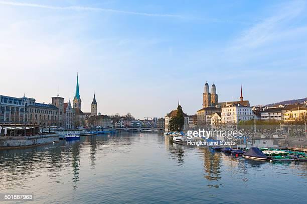 Limmat river, Fraumunster church, Grossmunster church Zurich, Switzerland