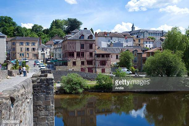 Limoges Old buildings and halftimbered houses near the bridge pont St Etienne This bridge built in the XIIIth century over Vienne river is situated...