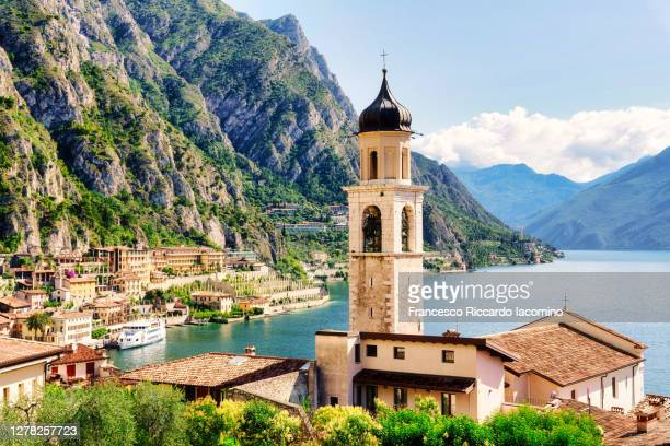 limone sul garda, town on the north west side of the famous lake in northern italy - italy stock pictures, royalty-free photos & images
