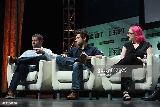 Limor Fried Jonathan Grado Jacques Panis and Matt Burns appear onstage during TechCrunch Disrupt NY 2015 Day 1 at The Manhattan Center on May 4 2015...