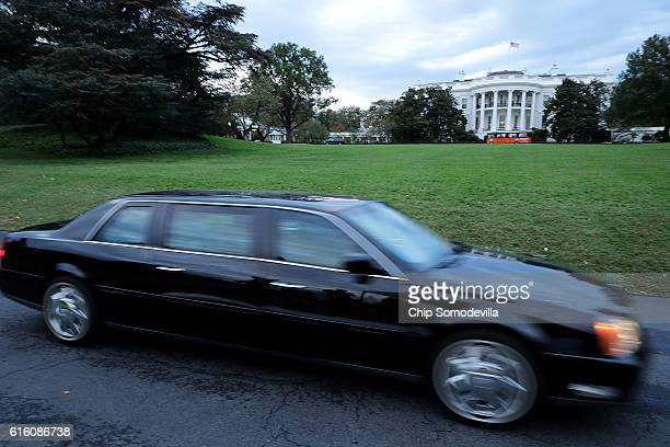 A limosine drives along the South Lawn before the start of the BET's 'Love and Happiness A Musical Experience at the White House October 21 2016 in...