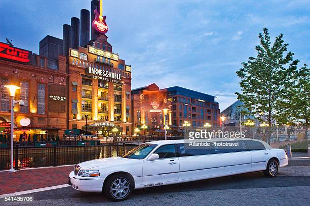 Limousine parked across from the Power Plant Live! Building