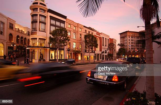 Limousine waits at the corner of Via Rodeo and Rodeo Drive, January 12 in Beverly Hills, CA. Rodeo Drive claims to be the worlds most prestigious...