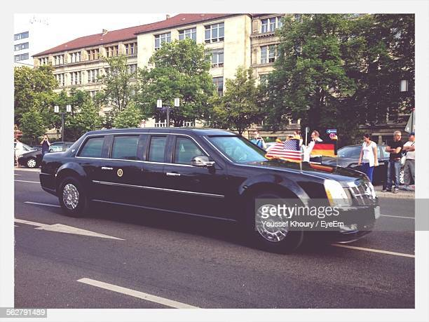 Limousine With American Flags